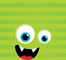 IPhone :: monster face laughing STRIPES - lime green by Kat Massard