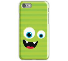 IPhone :: monster face laughing STRIPES - lime green iPhone Case/Skin
