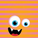 IPhone :: monster face laughing STRIPES - orange + pink by Kat Massard