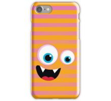 IPhone :: monster face laughing STRIPES - orange + pink iPhone Case/Skin