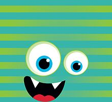 IPhone :: monster face laughing STRIPES - lime + jade green by Kat Massard