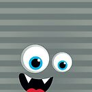 IPhone :: monster face laughing STRIPES - silver + grey by Kat Massard