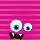 IPhone :: monster face laughing STRIPES - pink by Kat Massard