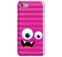 IPhone :: monster face laughing STRIPES - pink iPhone Case/Skin