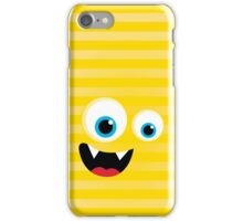 IPhone :: monster face laughing STRIPES - yellow iPhone Case/Skin