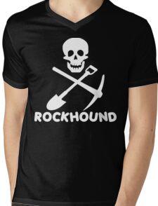 Rockhound Skull Crossed Pick & Shovel Mens V-Neck T-Shirt