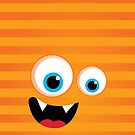 IPhone :: monster face laughing STRIPES - orange by Kat Massard