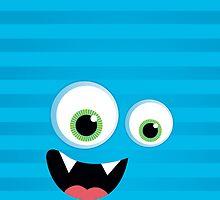 IPhone :: monster face laughing STRIPES - aqua blue by Kat Massard