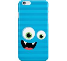 IPhone :: monster face laughing STRIPES - aqua blue iPhone Case/Skin