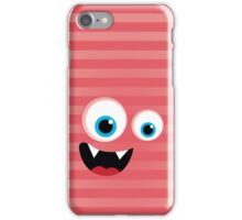 IPhone :: monster face laughing STRIPES - coral + melon iPhone Case/Skin