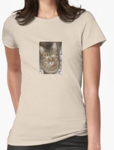 Cute Tabby Cat Portrait Womens Fitted T-Shirt
