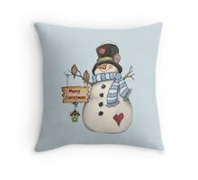 Merry Christmas Snowman Throw Pillow