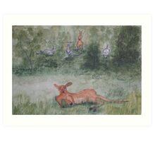 Kangaroos. Art Print
