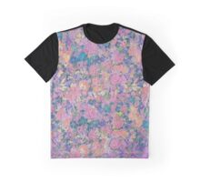 Floral Pattern in Pink and Blue Graphic T-Shirt