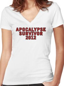 Apocalypse Survivor 2012  Women's Fitted V-Neck T-Shirt