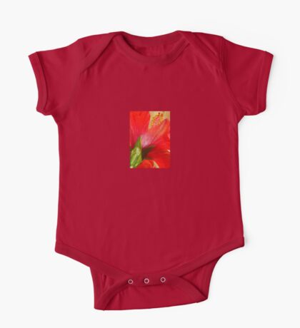 Back View of A Beautiful Bright Red Hibiscus Flower One Piece - Short Sleeve