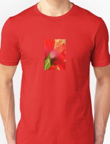 Back View of A Beautiful Bright Red Hibiscus Flower Unisex T-Shirt