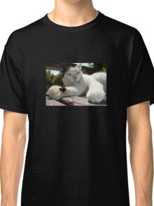 Black and White Bicolor Cat Lounging on A Park Bench Classic T-Shirt