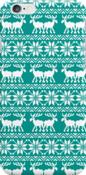 Teal Holiday Ugly Sweater Moose Pattern by RexLambo
