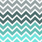 Tiffany Mint and Grey Fade Chevron Pattern by RexLambo