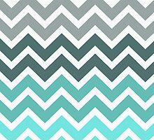 Tiffany Mint and Grey Fade Chevron Pattern by RexLambo