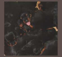 Litter Of Rottweilers and One Puppy Being Different One Piece - Short Sleeve