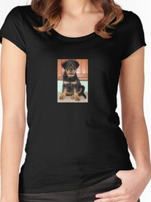 A Discontented and Wet Rottweiler Puppy  Women's Fitted Scoop T-Shirt