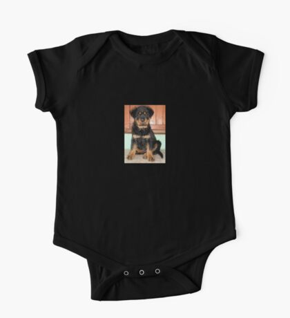 A Discontented and Wet Rottweiler Puppy  One Piece - Short Sleeve