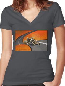 retro motorcycle Isle of Man TT poster Women's Fitted V-Neck T-Shirt