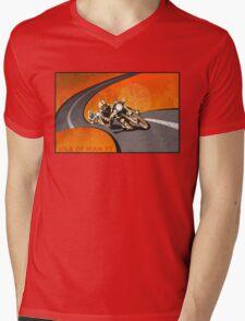 retro motorcycle Isle of Man TT poster Mens V-Neck T-Shirt