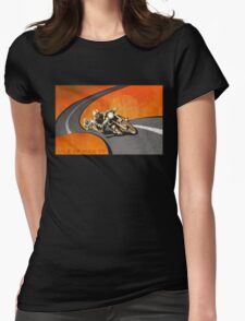 retro motorcycle Isle of Man TT poster Womens Fitted T-Shirt