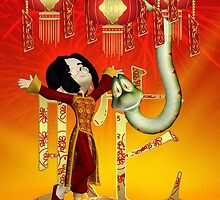 Chinese New Year - Year Of The Snake With Little Boy And Snake Friend by Moonlake