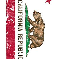 California State Flag Vintage Distressed Style by RexLambo