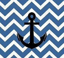 Slate Blue Chevron Zigzag Pattern Anchor by RexLambo