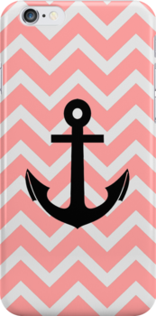 Salmon Peach Chevron Zigzag Pattern Anchor by RexLambo