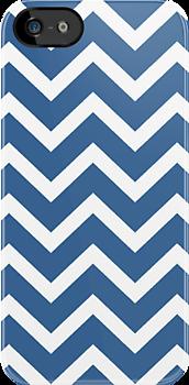 Slate Blue Zigzag Chevron Pattern by RexLambo