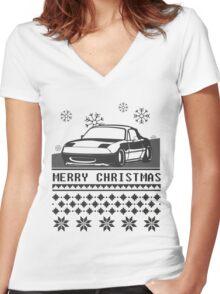 Merry Christmas miata Women's Fitted V-Neck T-Shirt