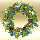 Decorated Christmas wreath - card by schtroumpf2510