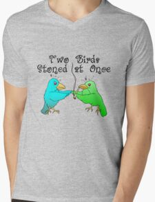 Two Birds Stoned at Once Mens V-Neck T-Shirt