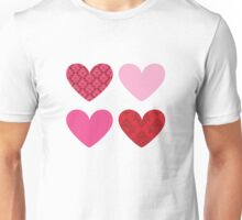DAMASK HEARTS QUAD PATTERN red & pink T-Shirt