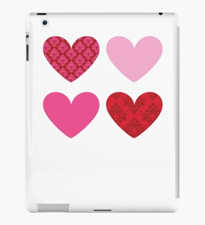 DAMASK HEARTS QUAD PATTERN red & pink iPad Case/Skin