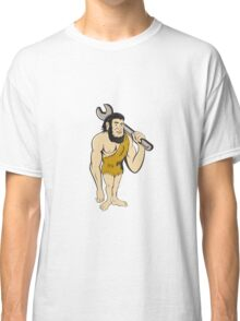 Neanderthal CaveMan With Spanner Cartoon Classic T-Shirt