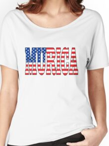 "Patriotic US Flag ""Murica"" Women's Relaxed Fit T-Shirt"
