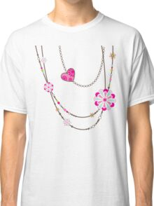 NECKLACE :: funky flowers chain bright colourful Classic T-Shirt