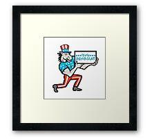 Vote Democrat Donkey Mascot Cartoon Framed Print