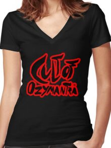 Cult of Ozymantra - Black on big red Women's Fitted V-Neck T-Shirt