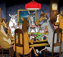 Horses Playnig Poker by drawgood