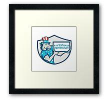 Vote Democrat Donkey Mascot Shield Cartoon Framed Print