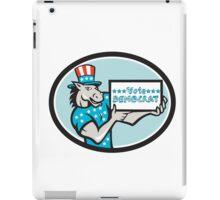 Vote Democrat Donkey Mascot Oval Cartoon iPad Case/Skin