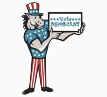 Vote Democrat Donkey Mascot Standing Cartoon by patrimonio